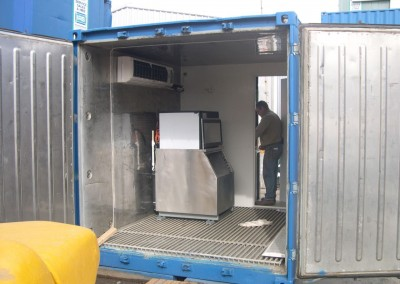 Ice machine installed inside a 10 foot refrigerated container