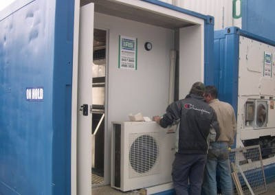 Installing the plant for a converted refrigerated shipping container with ice machine