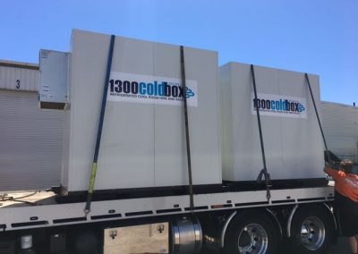 Multiple Coldbox portable coolrooms being delivered for use by Central Market stall holders Adelaide