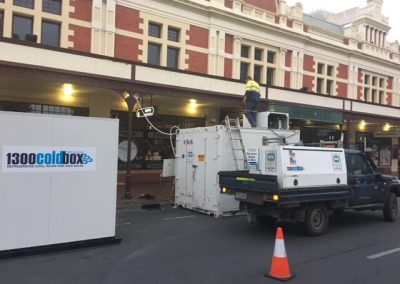 Commercial Refrigeration Adelaide staff with their mobile service vehicle unloading and installing cool rooms  for a hire over Christmas