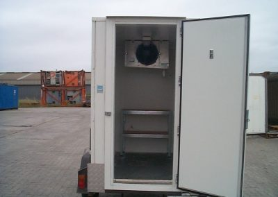Mobile cool room for hire with the typical shelving configuration