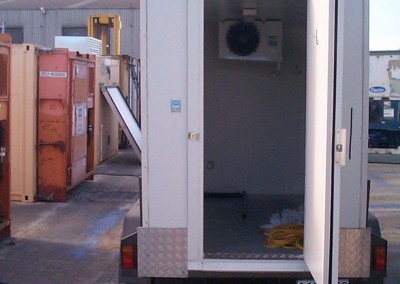 Our mobile cool rooms come fitted with a fold out step for easy access