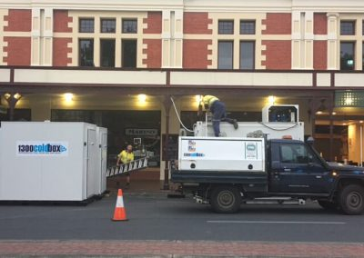 Commercial Refrigeration Adelaide staff unloading cool rooms for a hire in Gouger Street