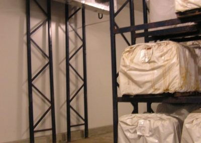 Installation of double stacking shelves in cool room for animal skins