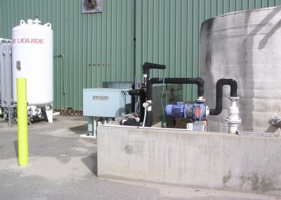 Large cool room refrigerated plant with large water storage tanks and chemical chiller gas storage tanks
