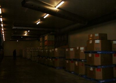 Storage in cool rooms for housing pallets