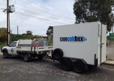New mobile cool room & freezer combination, mounted on a trailer for easy towing