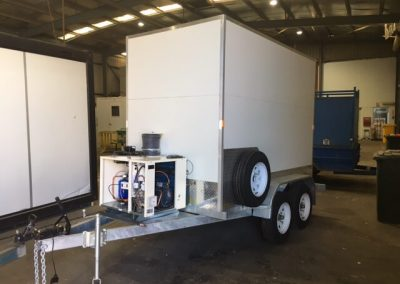 Our mobile cool room loaded on trailer, all set for transport to Coober Pedy